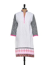 White Printed Kurti With Check Sleeves - NAVRITI