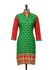 Leaf Print Cotton Kurta - NAVRITI