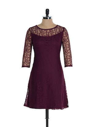 Burgundy Polyester Lace Dress -  online shopping for Dresses