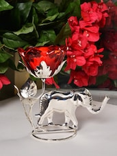 Elephant With Rose Tea Light Holder - Roshni Creations