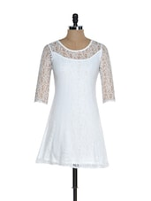 White Polyester Lace Dress - @ 499