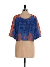 Abstract Loose Fit Polyester Crop Top - @ 499