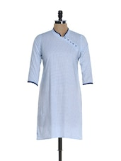 Faux Overlap Cotton Kurti With Blue Piping - @ 499