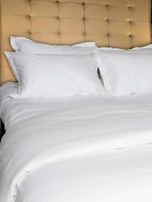 White Self Striped King Size Bed Sheet Set - Just Linen
