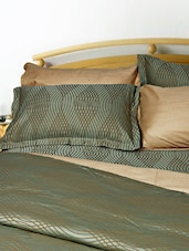 Uber Rare Cotton Damask Self Design Olive Green King Duvet Cover - Just Linen