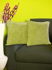 Set Of 2 Striped Green Fleece Cushion Covers - Just Linen