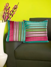 Set Of 2 Striped Multicolored Velvet Cushion Covers - Just Linen