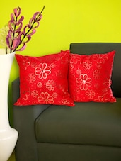 Set Of 2 Gold Embossed Red Cushion Covers - Just Linen