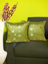 Set Of 2 Gold Embossed Green Cushion Covers - Just Linen