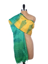 Green And Yellow Printed Silk Dupatta - Dupatta Bazaar