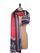 Red Striped Silk Dupatta With Black And White Warli Prints On The Border - Dupatta Bazaar