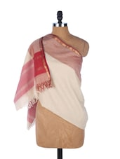 Cream And Red  Printed Chanderi Silk Dupatta - Dupatta Bazaar