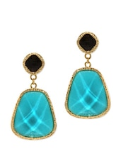 Turquoise Blue And Black Plated Drop Earrings - Golden Peacock