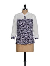 White Full Sleeved Top With Purple Prints - KAXIAA