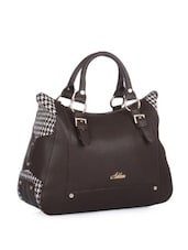 Stylish Brown Houndstooth Tote Bag - Addons