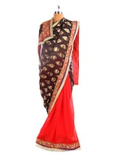 Elegant Black And Red Saree - By