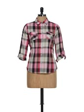 Pink And Brown Checkered Prints Roll-up Sleeves Cotton Shirt - Overdrive