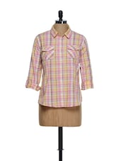 Peachy Pink Checkered Prints Roll-up Sleeved Cotton Shirt - Overdrive