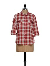 Red And Cream Checkered Prints Roll-up Sleeved Cotton Shirt - Overdrive