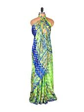 Light Green And Blue Floral Saree - Saraswati