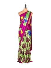 Light Green And Dark Magenta Printed Saree - Saraswati