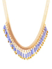 Golden And Mauve Safety Pin Patterned Necklace - 80N