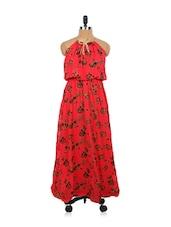 Rose Print Red Maxi Dress - EVogue.Me