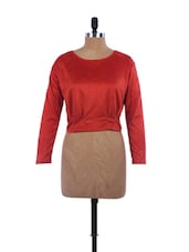 Orange Crop Top With Back Buttons - EVogue.Me