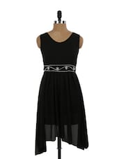 Black Chiffon Asymmetrical Dress - EVogue.Me