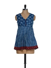 Indigo Blue And Maroon Block Print Cotton Tunic - 9rasa