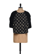 Black Three-quarter Sleeved Traditional Block Printed Cotton Top - 9rasa