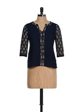 Traditional Navy Blue Cotton Top With Block Prints - 9rasa