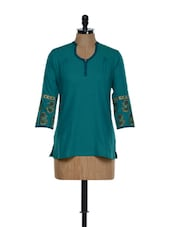 Elegant Turquoise Blue Cotton Tunic With Block Prints On The Sleeves - 9rasa