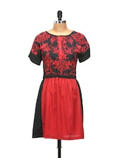Red And Black Printed Half-sleeved Dress - L'elegantae