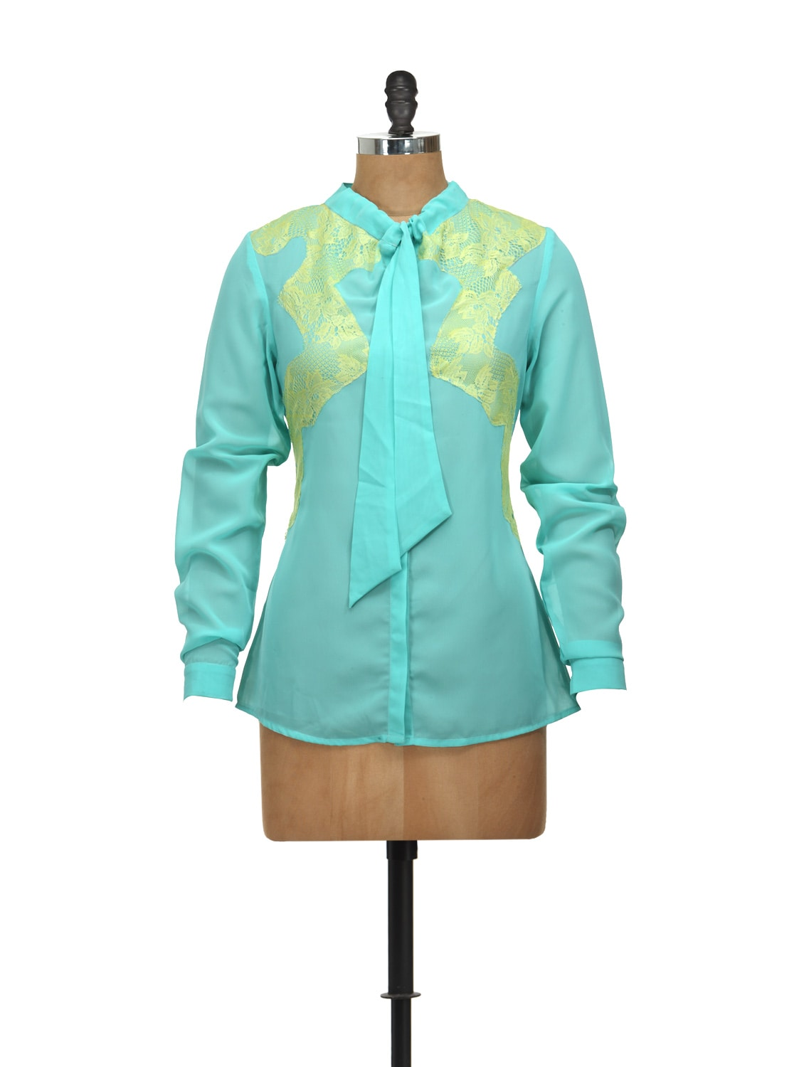 Light Blue Full-sleeved Bow-tie Shirt - L'elegantae