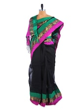 Gorgeous Black And Green Saree With Blouse Piece - ROOP KASHISH