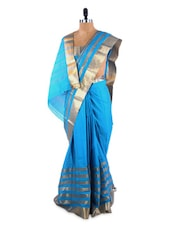 Elegant Blue Saree With Blouse Piece - ROOP KASHISH