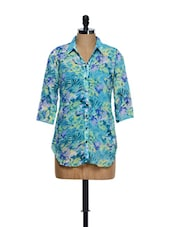 Sky Blue Three Quarter Sleeved Tropical Prints Top - Ayaany