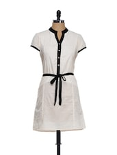 Plain White Cotton Tunic With A Black Waist Belt - Ayaany