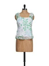 White Base Chiffon Summer Top With Green Prints - Ayaany