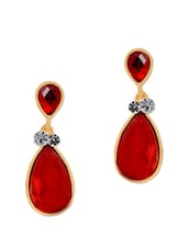 Ravishing Red Tear Drop Danglers - Maayra