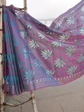 Pink And Blue Lotus Patterned Banarasi Saree - BANARASI STYLE