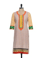 Multi-coloured Ethnic Print Cotton Kurta - STRI