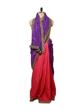 Purple And Pink Chanderi & Jute Silk Saree - ZAHARA