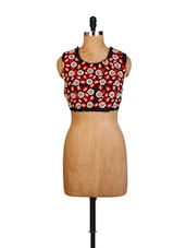 Handcrafted Black And Red Blouse - ZAHARA