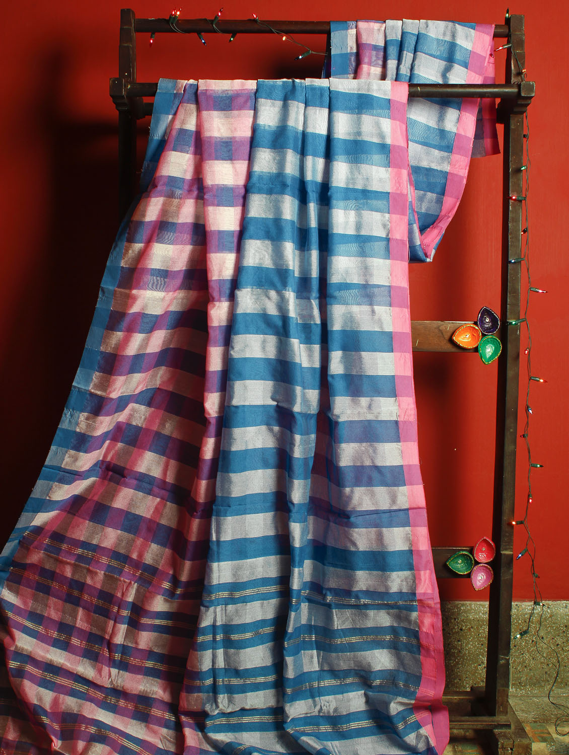 Blue And Pink Striped Handloom Resham And Cotton Saree - Cotton Koleksi