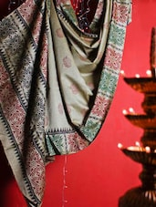 Grey Handloom Khaadi Saree With Maroon And Black Prints - Cotton Koleksi