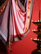 Pink Handloom Resham And Cotton Traditional Saree - Cotton Koleksi