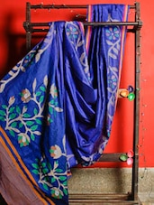 Sapphire Blue Handloom Matka Silk Traditional Saree - Cotton Koleksi