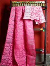 Pink And White Floral Handloom Traditional Saree - Cotton Koleksi
